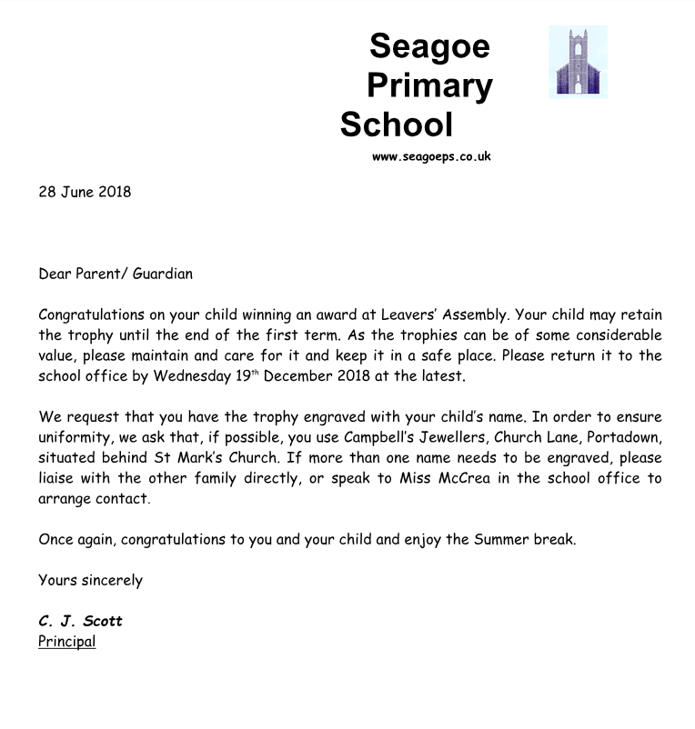 Letter to Parents re Awards - Seagoe Primary School
