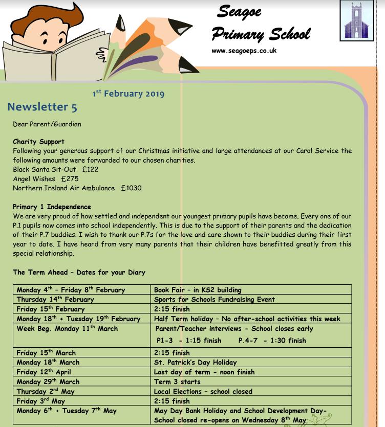 Seagoe PS News Sheet Feb 2019 - Seagoe Primary School