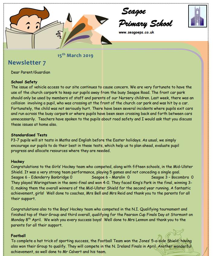 Seagoe PS News Sheet 15 March 2019 - Seagoe Primary School